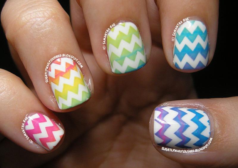 Rainbow Stamping Chevron Gradient... nail art by Samantha Rae