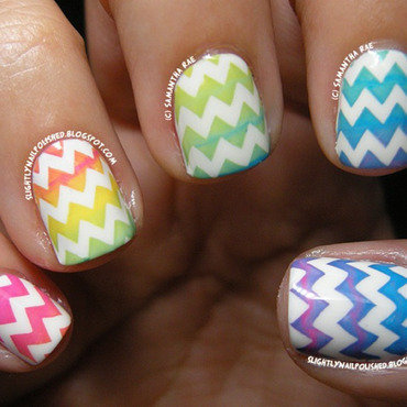 Rainbow Stamping Chevron Gradient... nail art by Samantha Rae