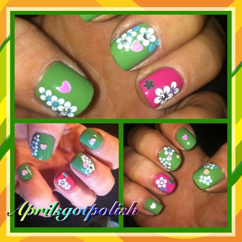 Springtime flowers minty green oh thank u it's now spring!! nail art by April Dolan