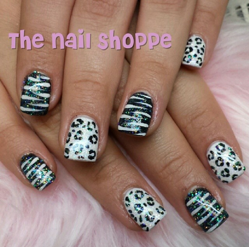 Black white animal print nail art by dita von tawana of the nail shoppe