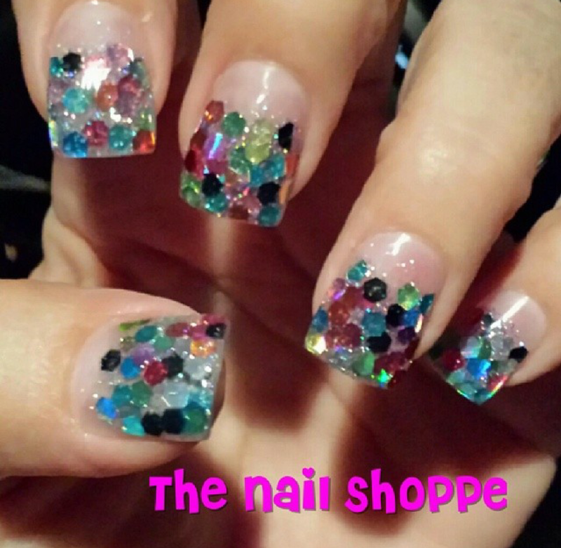 Multi Color Confetti nail art by Dita Von Tawana of The Nail Shoppe