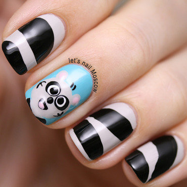 Racoon nails / nail art :) nail art by Let's Nail Moscow