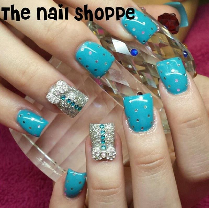 Sequins and Bows nail art by Dita Von Tawana of The Nail Shoppe