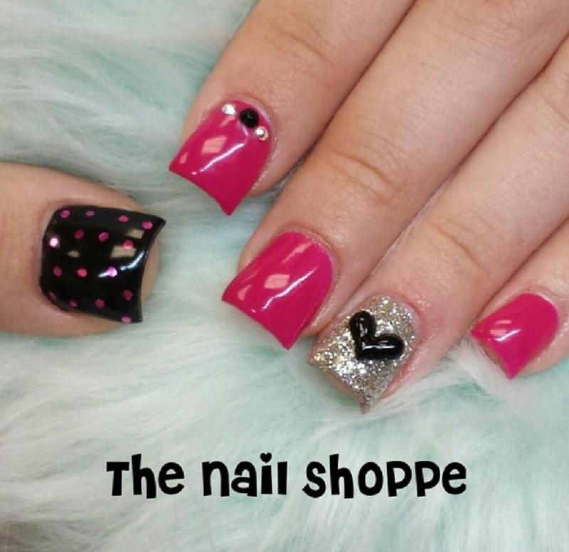 Black Heart of Love nail art by Dita Von Tawana of The Nail Shoppe