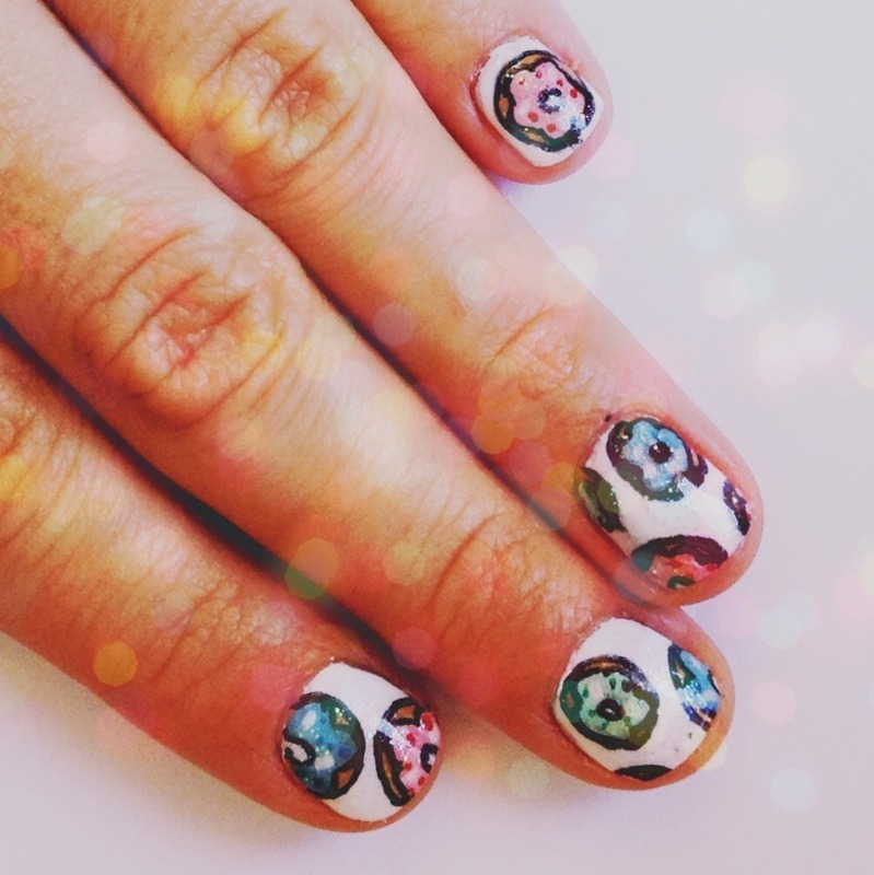 Donuts nail art by OrchidStyle
