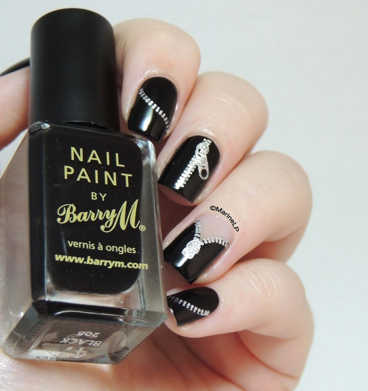 Leather jacket nails nail art by Marine Loves Polish