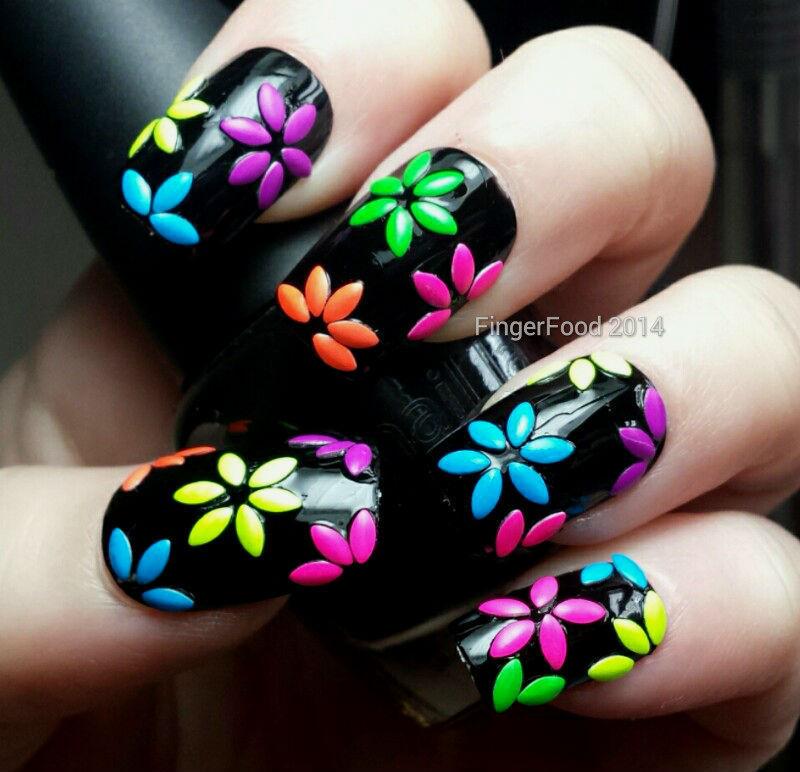 80s Disco Rhinestone Flowers nail art by Sam