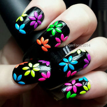 80s Disco Rhinestone Flowers nail art by Sam