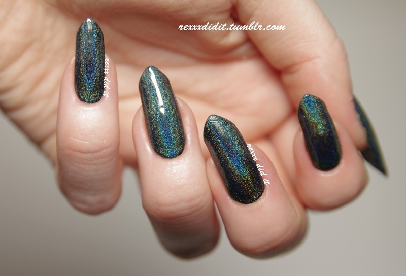 Sinful Colors Black on Black and BornPretty Store Holographic Polish #12 Swatch by Robin