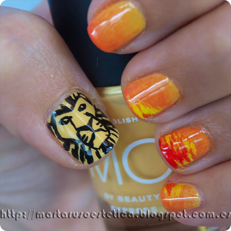 Lion King Musical nail art by MartaRuso