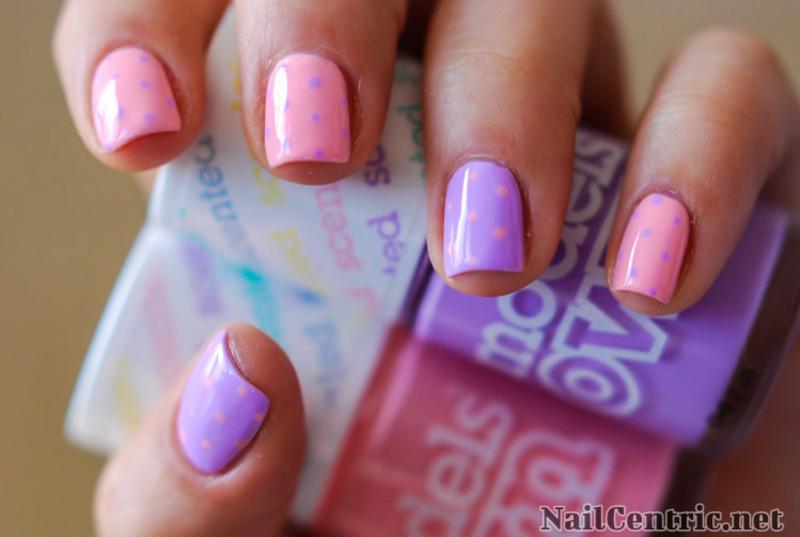 Polka dots and pastels nail art by NailCentric