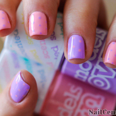 Pastels and polka dots nail design thumb370f