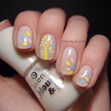 Spring Tree nail art by Veronika Sovcikova