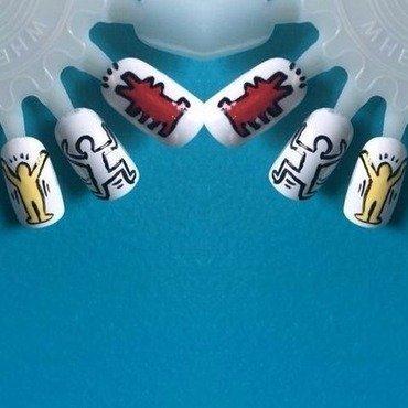 Keith Harring nail art by Peekaboonails