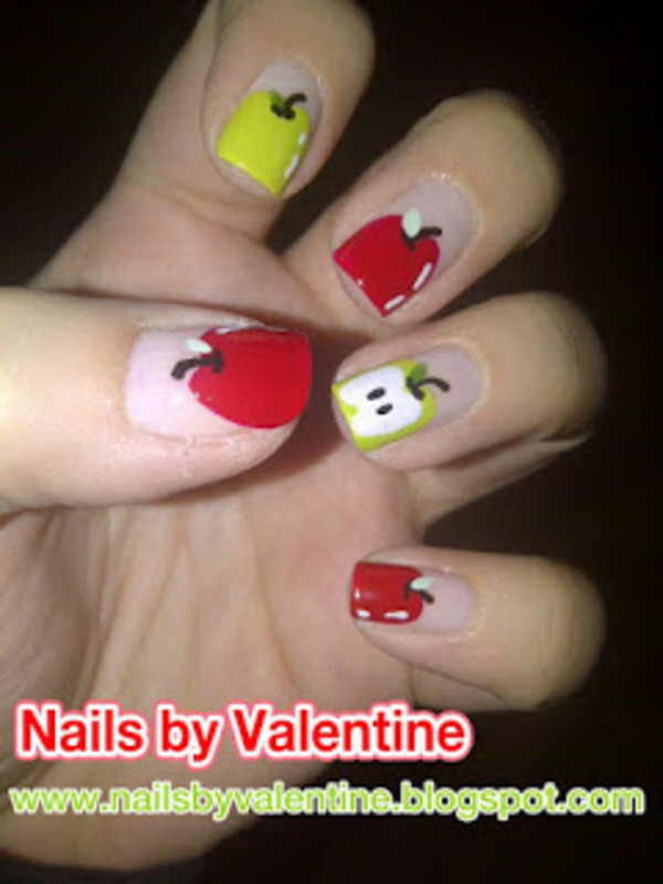 An apple a day... nail art by Sarah