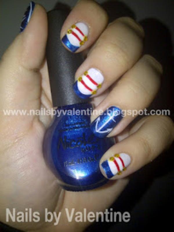Ahoy! nail art by Sarah