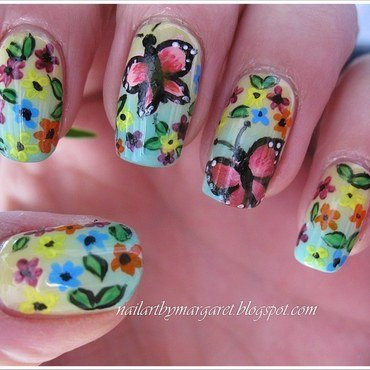 Wiosenne Motyle nail art by Margaret Nail Art