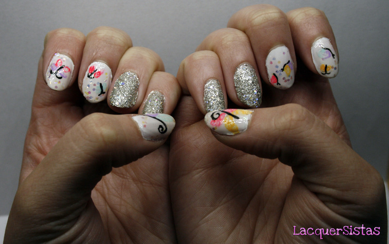 Watercolor Butterflies nail art by Bea LacquerSista