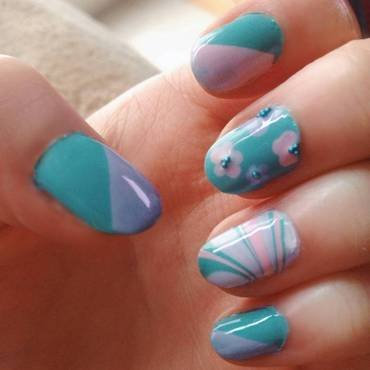 Spring Colorblocking and Flowers nail art by Anya Qiu
