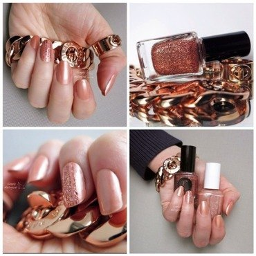 Rose gold work appropriate mani with a touch of glitter nail art by simplynailogical