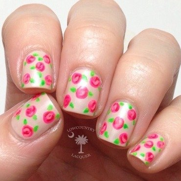 Neon Roses nail art by Danele - lowcountry lacquer