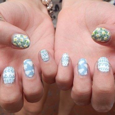 Primavera Aztec nail art by absolutelylacquered