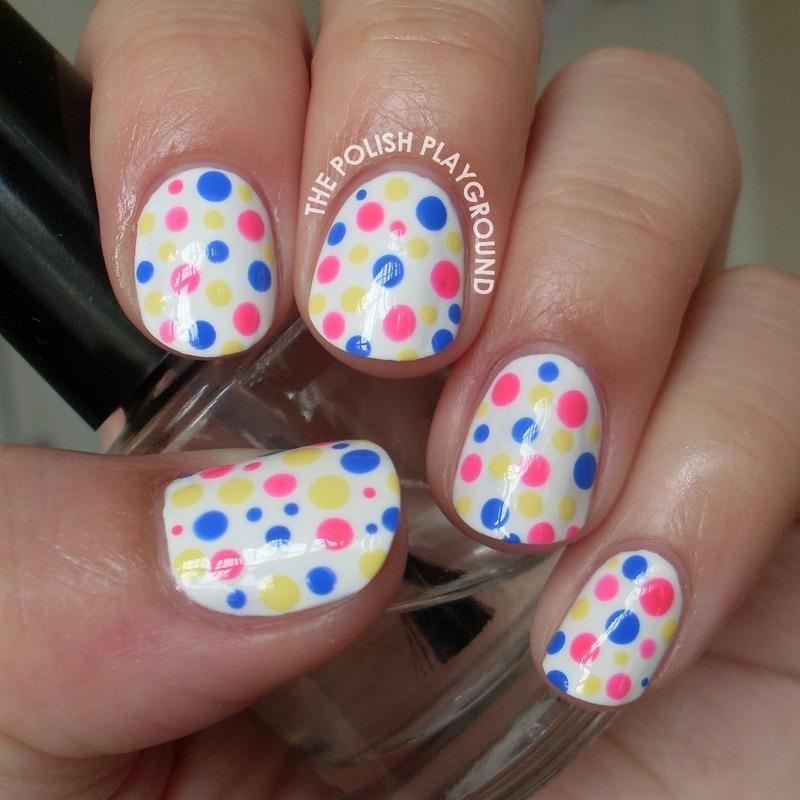 Simple and Colorful Polka Dots nail art by Lisa N