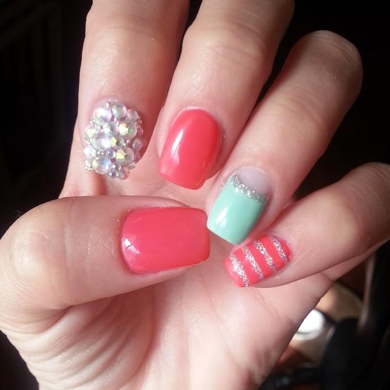 blingy spring nail art by Ashley Guyaux
