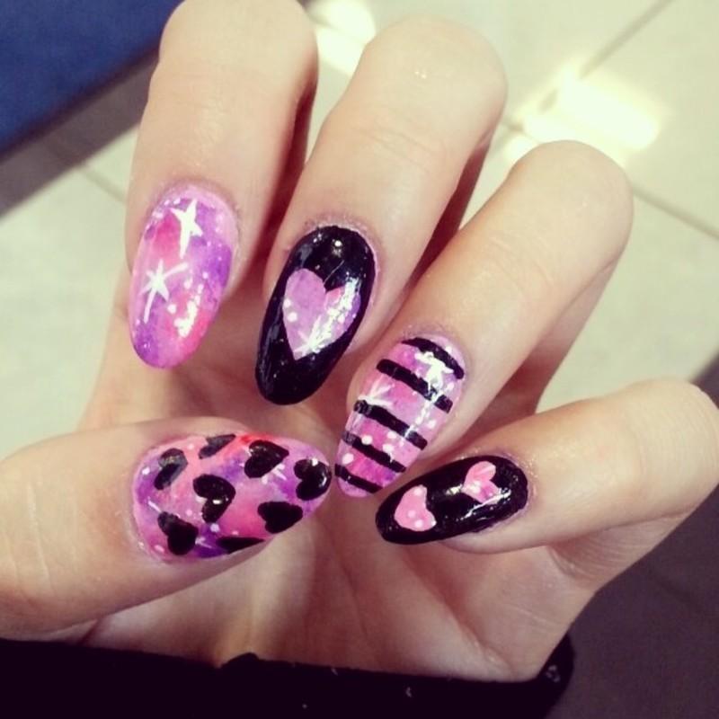 heart galaxy nail art by Ashley Guyaux