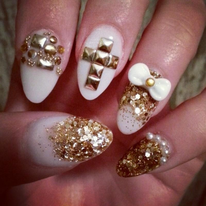 white gold  nail art by Ashley Guyaux