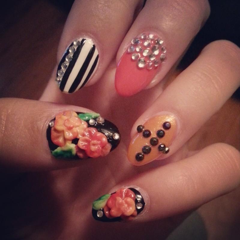 coral roses nail art by Ashley Guyaux
