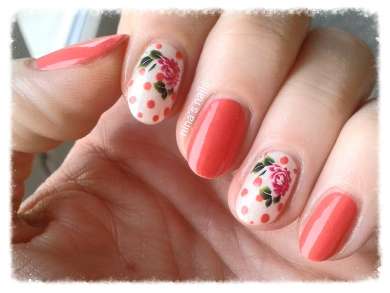 spring roses nail art by Nina's nails