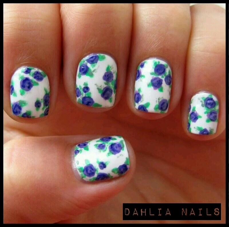 Liberty Florals nail art by dahlianails