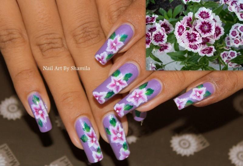spring flower onestorke nail design nail art by shamila diluckshi
