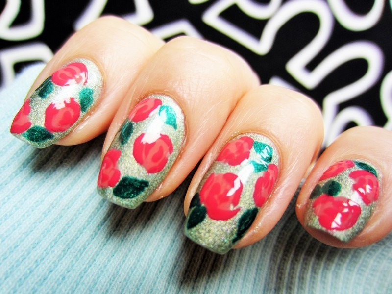 Roses nail art by Jane