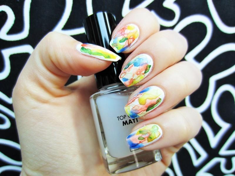 Watercolors nail art by Jane