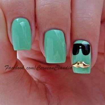 Moustache Nails nail art by Claudia