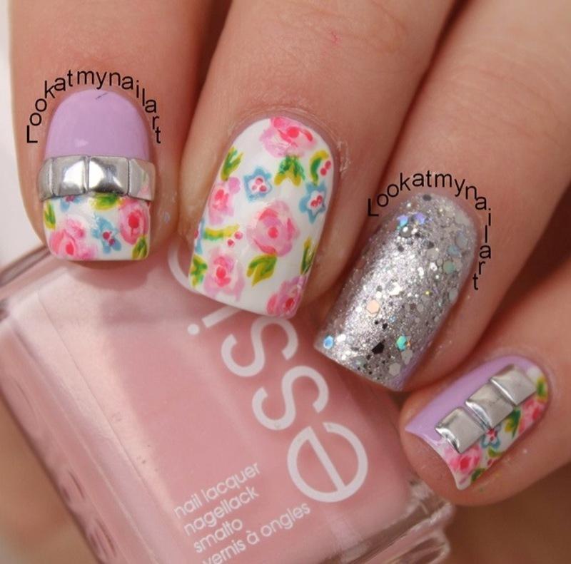 Spring floral nail art by Sabine