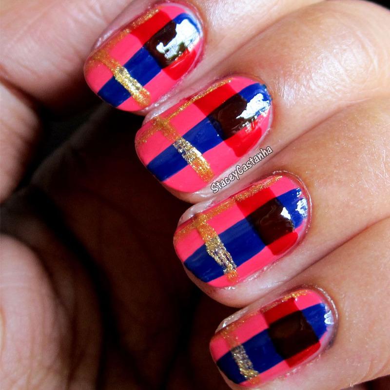 Plaid Tartan nail art by Stacey  Castanha