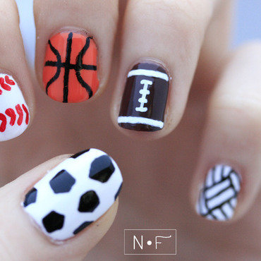 Sports nail art by NerdyFleurty