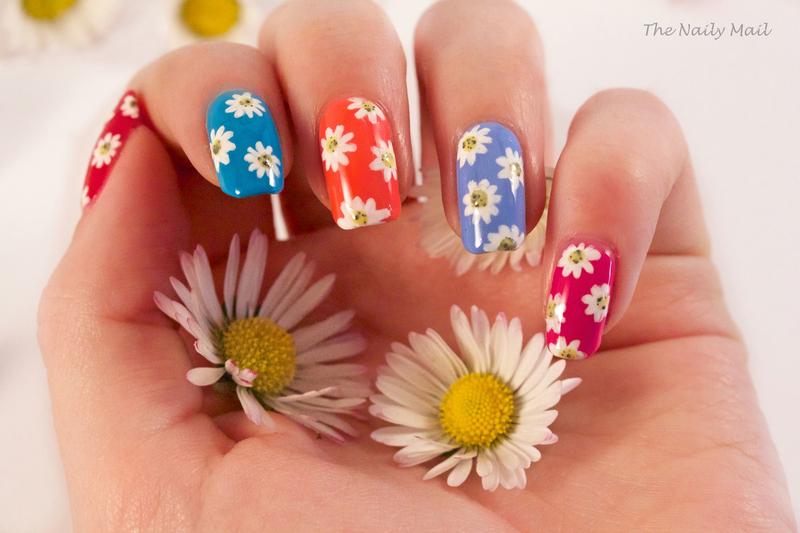 Daisies nail art by The Naily Mail