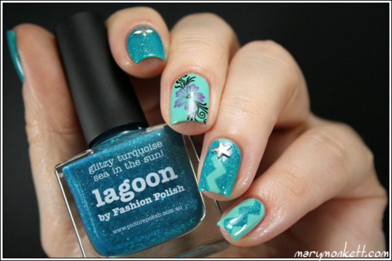 Lagon fleuri nail art by Mary Monkett