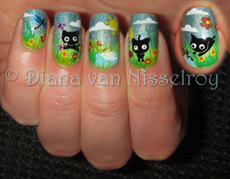 Cats playing in the garden. nail art by Diana van Nisselroy