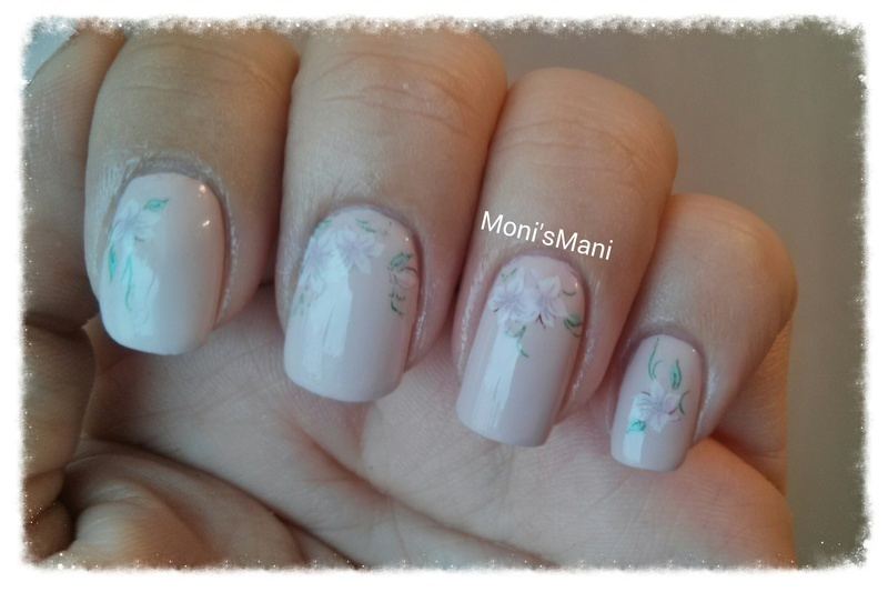 Soft water decal mani detail nail art by Moni'sMani