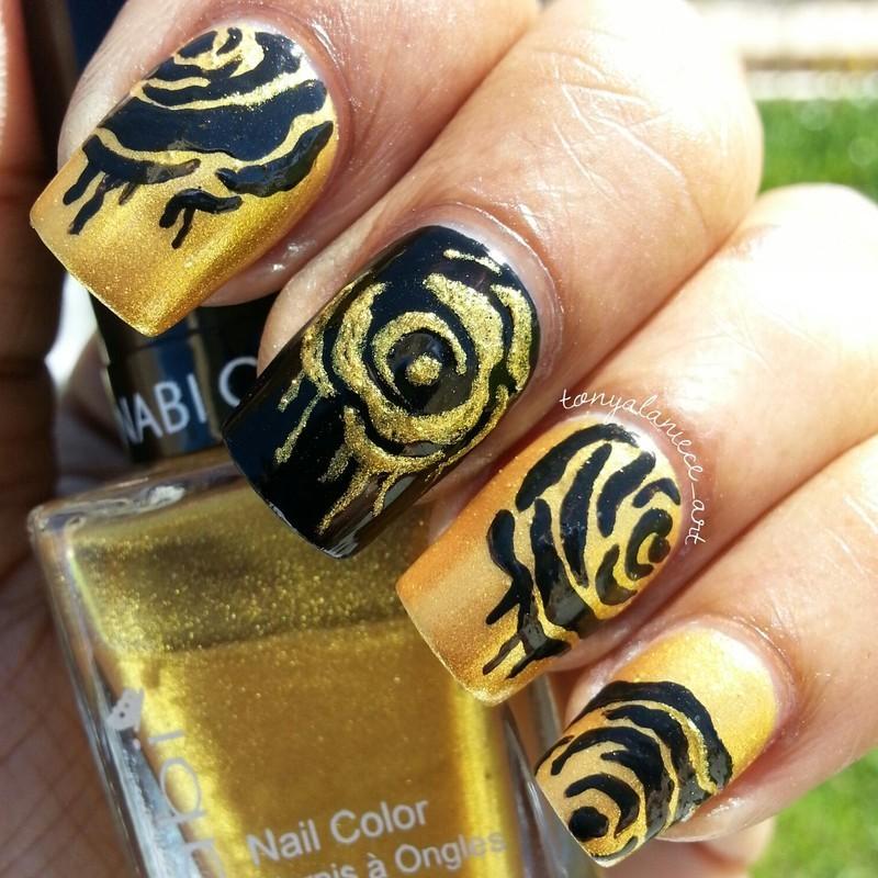 Dripping Rose Manicure nail art by Tonya