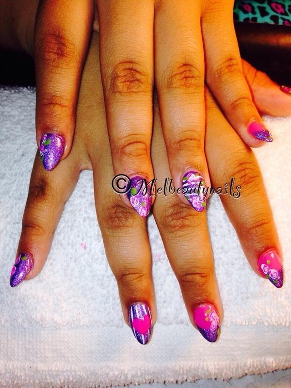 Vintage purple  nail art by mel