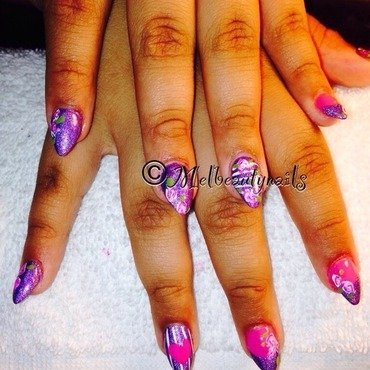 Vintage purple  nail art by mel