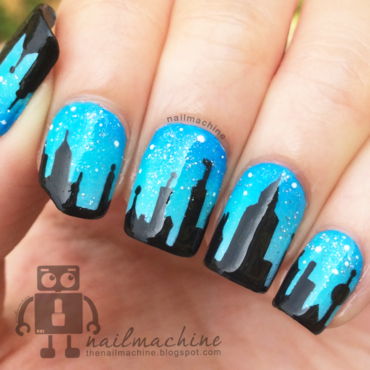 City Skyline nail art by Kimberlyn