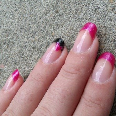 Pink + Black French Tip + Heart Accent nail art by Toria Mason