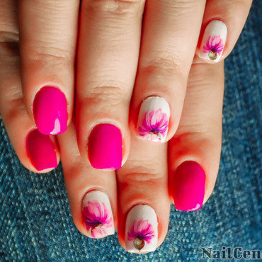 Purple nails with water decal accent nail art by NailCentric